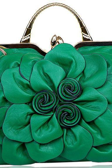 Green Bag Green Shoulder Bag with Big Flower Leather Handbag for Luxury Women