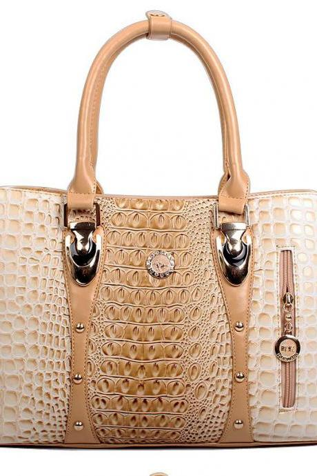 Womens Ivory Tote Bags Embossed Cross Body Bags Ivory Champagne Color Totes