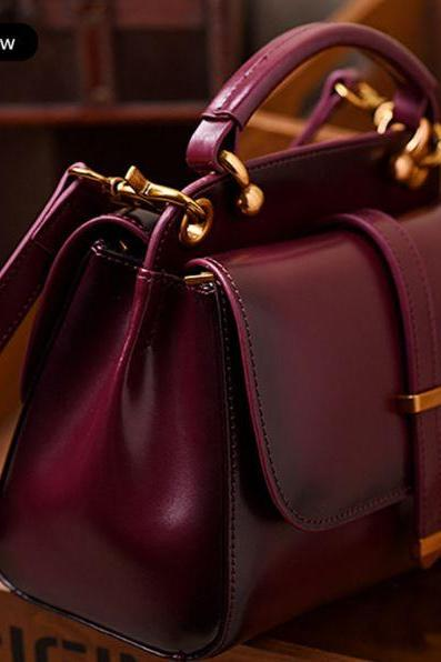 Heavy Duty Red Wine Color Shoulder Bags for Women Elegant Burgundy Purse New Genuine Red Leather Bags