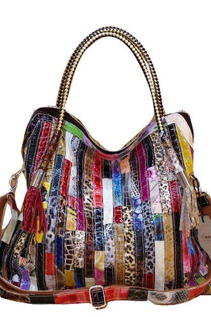 Womens Multicolor Tote Bags Embossed Colorful Snake Skin Leather Bags Large Bags