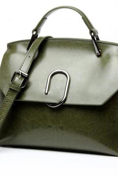 Authentic Genuine Leather Bags Casual Designer Bags Green Leather Small Bags for Women