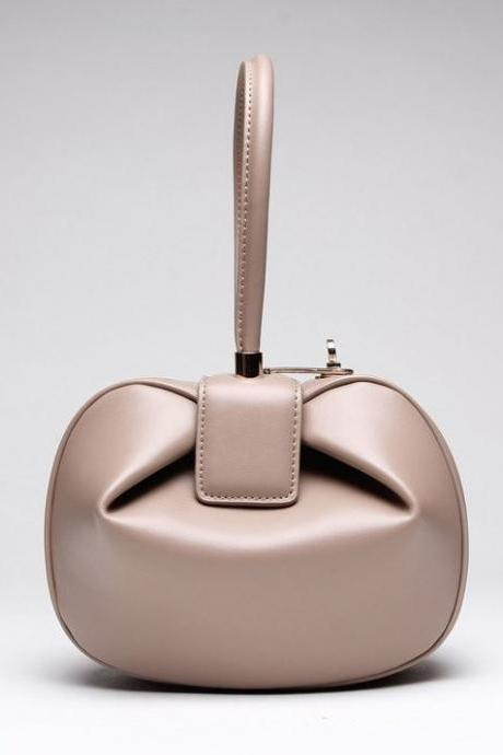 Beige Leather Bags for Women Famous Handbags Leather Shell Leather Inside Out