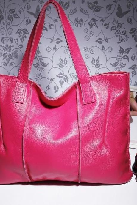 Genuine Leather Fuchsia Bag Large Size Fashion Messenger Bags for Women