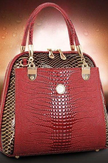 Embossed Red Leather Handbag Red Luxury Mini Purse Mother of the Bride Purse