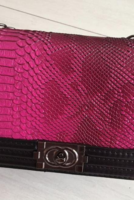 Embossed Pink Leather Handbag Pink Luxury Purse Mother of the Bride Pink Leather Handbags