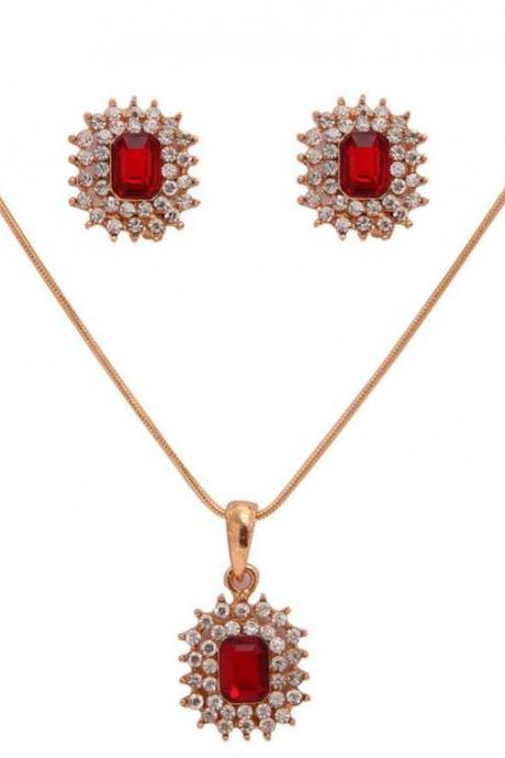 Womens Jewelry Set 18K Gold Plated Red Square Earrings with Matching Necklace