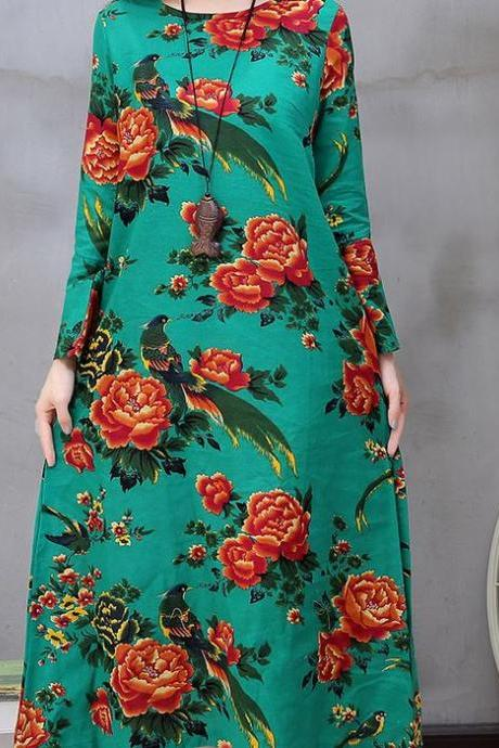 Fashion Green Dress Floral Prints Long Sleeve Cotton Linen Maxi Green Dress Spring