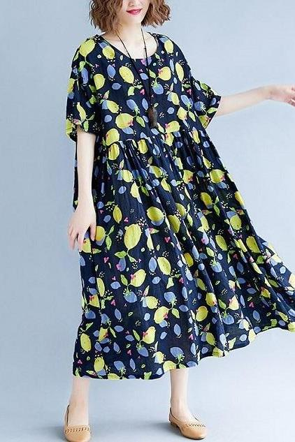 Rsslyn New Linen Dresses Oversized Navy Blue Maxi Dress with Lemon Prints Loose Maxi Dresses