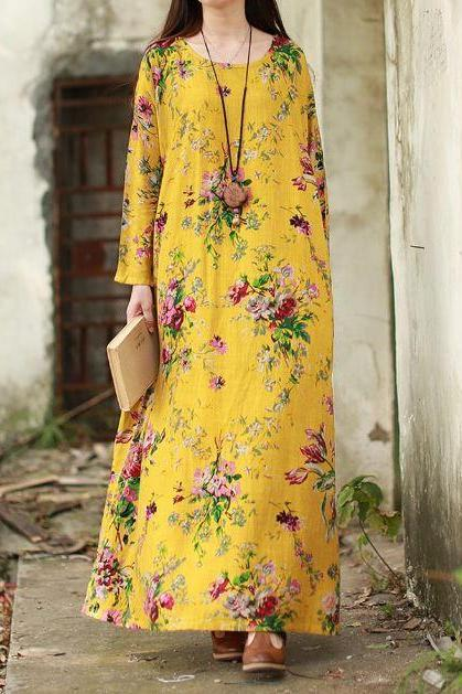 Womens Yellow Dress Floral Plus Sizes Summer and Spring Dresses for Women S-5XL Super Linen Dresses