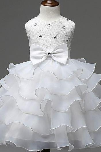 White Layered Tutu Dress for Girls White Dress for Flower Girls Wedding Birthday Girls Outfit