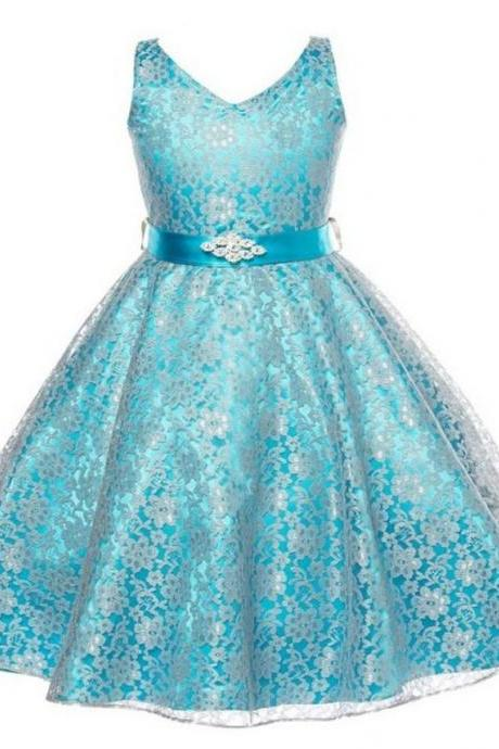 Princess Elsa Dress Prom Blue Dresses Wedding Birthday Formal Wear Teen Girls
