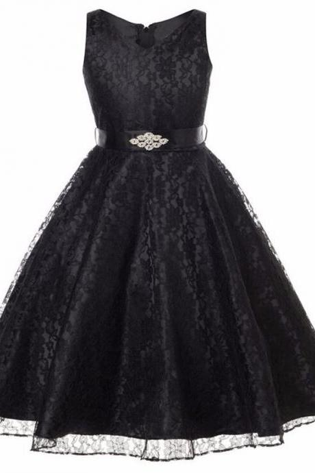 Floral Black Dress Prom Black Dresses Wedding Birthday Formal Wear Teen Girls
