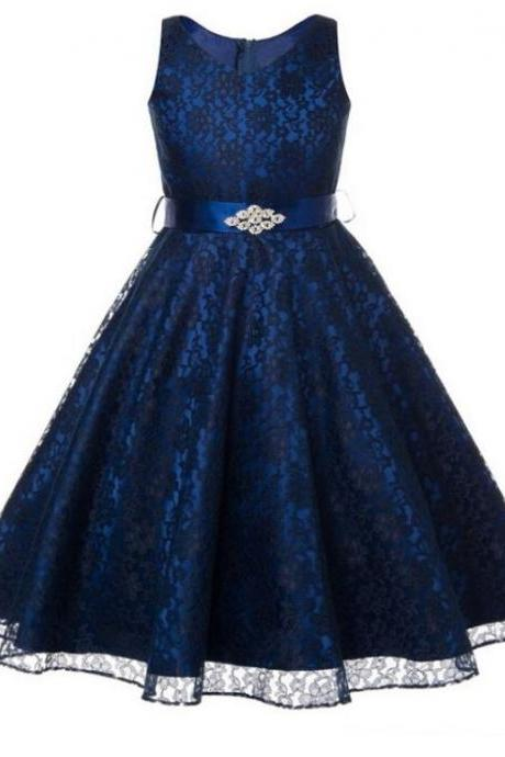Navy Blue Dress Prom Blue Lace Dresses Wedding Birthday Formal Wear Teen Girls