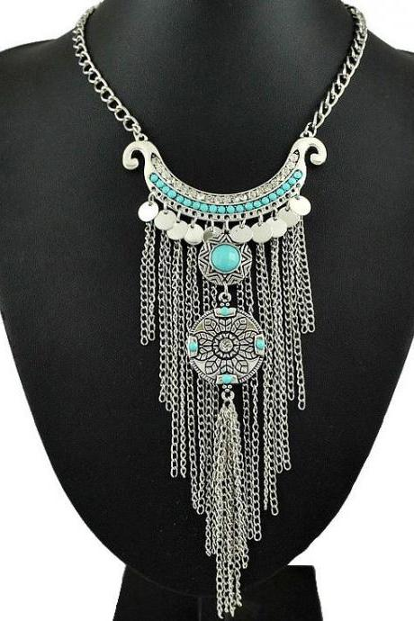 Antique Silver Turquoise Jewelry Vinatge Necklace Statement Necklace For Women