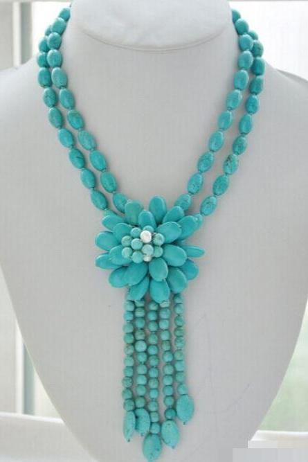 Turquoise Necklaces for Women-Floral Vintage Gift to Mother-Blue Rice Round Turquoise Bead Flower Necklace