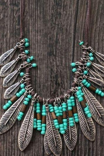 Turquoise Resin Necklace with Antique Silver Plated Leaf Tassel Bib Chokers
