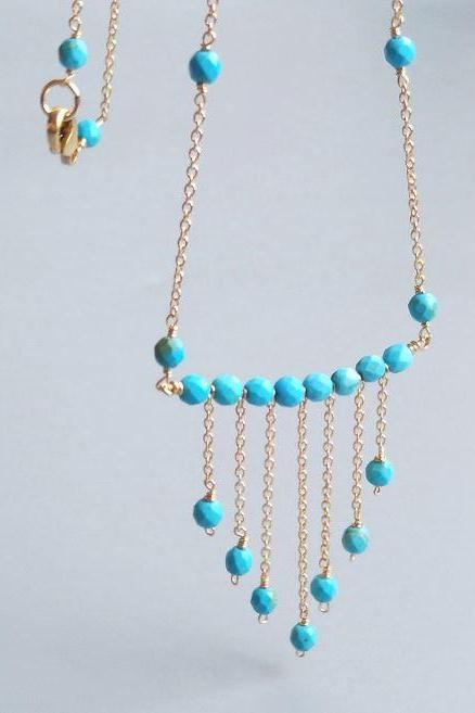 Gold Filled Turquoise Necklace Classic and Elegant Long Turquoise Necklaces for Women-Dye Blue Turquoises Gold Filled Chain Tassel Pendant Delicate