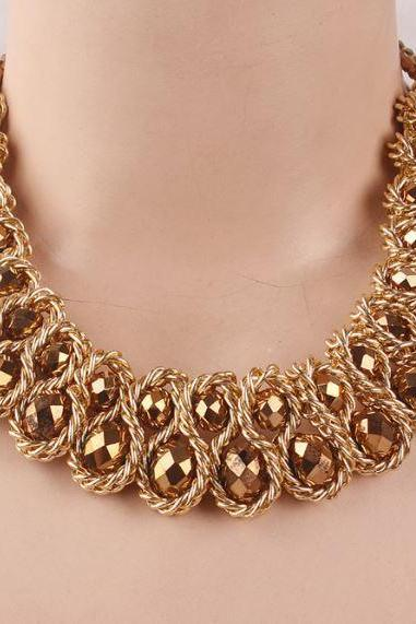 Vintage Statement Necklaces Fashion Jewelry Gold Plated Thick Tassels Gold Champagne Color Bib
