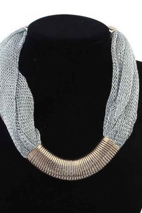 Women chunky chain Silver bib choker silk fabric chain necklaces