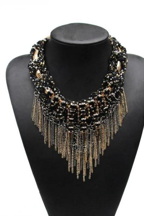 Fashion Jewelry for Women Black Tassels and Chains Black Chokers for Women