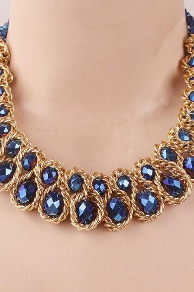 Blue Gold Necklaces Fashion Jewelry Gold Plated Thick Tassels Gold Blue Color Bib Chokers