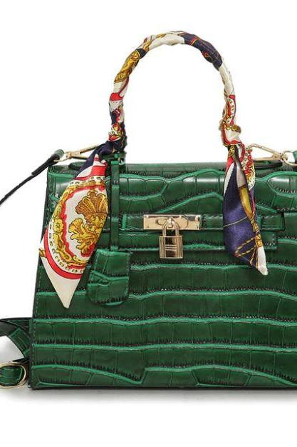 Crocodile Leather Bags Grain RSS Boutique Vogue Green Leather Totes for Women with Handkerchief Wrap Handle