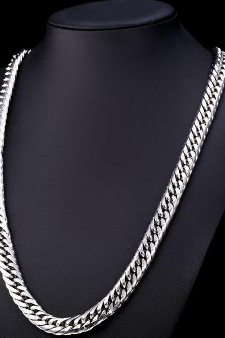 Stainless Steel Necklace for Men Necklace Big Chunky Silver Chain For Men 18K Silver Plated Thick