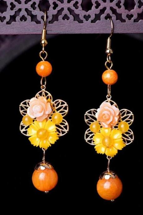 Dazzling Earrings Floral Earrings for Women Orange Dangle Earrings-Handmade Ethnic Dangle Earrings Vintage Orange Earrings