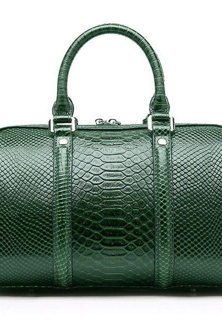 Vintage Embossed Snake Skin Green Log Bags for Luxury Women Genuine Leather Bags for Stewardess Traveling Bags