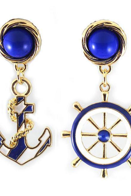 Vintage Anchor Sailor Earrings Steering Wheel Earrings Navy Earrings