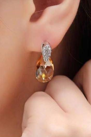 citrine orange swarovski drop earrings luxury white gold plated drop earrings