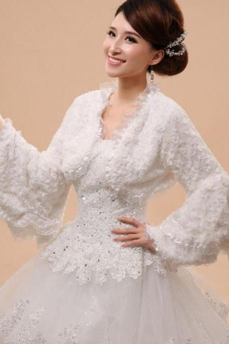 White Ruffled Bolero for Women-Bridal Shrugs with Laces and Ruffles Quarter Sleeves Mermaid Shoulder Wraps