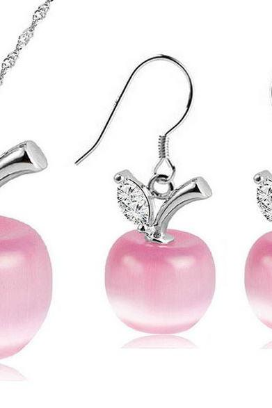 pink apple jewelry set for teen girls and women apple 925 sterling silver jewelry