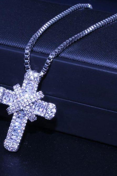 Cross Necklace Religious Silver Plated Cross Necklaces with Classy Glass Stones