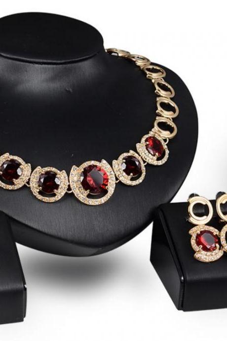 red chunky jewelry set gold plated jewelry set women hoops red pendant necklace