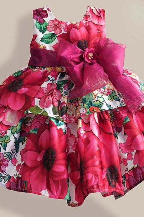 floral lovely magenta dress for girls with large belt bow 12mos,2t,3t,4t,5t