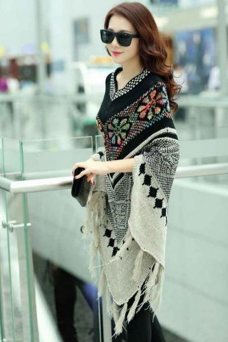 FREE SHIPPING black poncho for women with fringe winter wraps V shape knitted wool ponchos