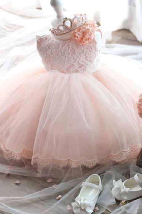 pink tutu dress for flower girls with big bow tail embroidered hem wedding,birthday outfit