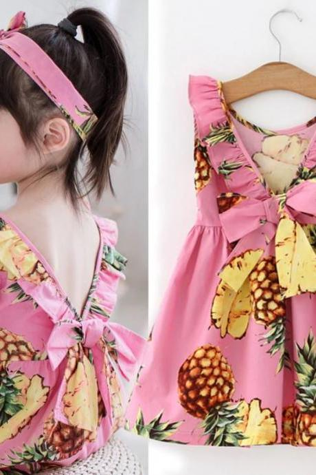 Pineapple Baby Dress Pink Backless Dress 3 Months Dress 12 Months Dress Girls Dresses