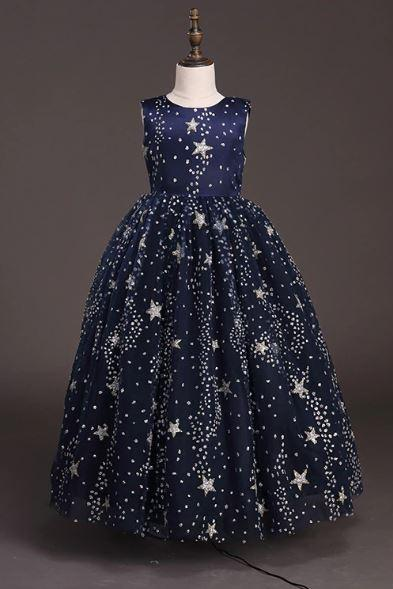 Starry Dress Patriotic Dress for Girls Singing Girls Floor Length Dress Elegant Navy Blue Dress with Stars