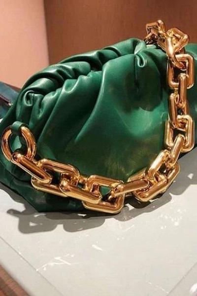 Rsslyn Solid Green Shoulder Bags Luxury Style with Big Golden Chain Strap Shoulder Bag for Women