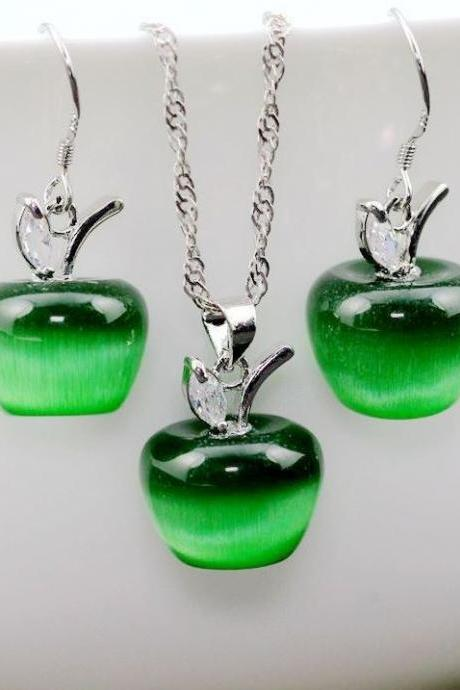 Apple Jewelry Set for Women Green Apple Jewelry Fashion Silver Plated
