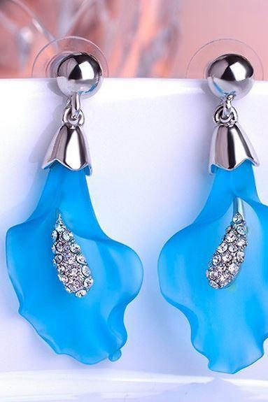 Blue Earrings for Women Rhodium Plated Calla Lily Shape Blue Stud Floral Earrings