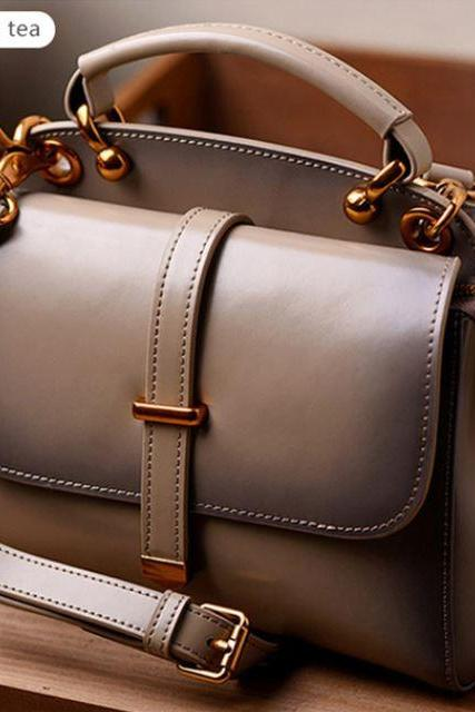 Unique Tea Color Genuine Leather Satchel Bags for Elegant Women Beige Ivory Purses for Women
