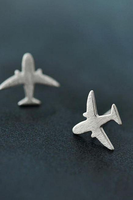 Airplane Earrings for Stewardees Flight Attendant Silver Jewelry Student Jet Fighter Woman