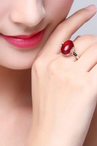 Jade Red Rings 925 Sterling Silver Resizable Jade Ring for Women
