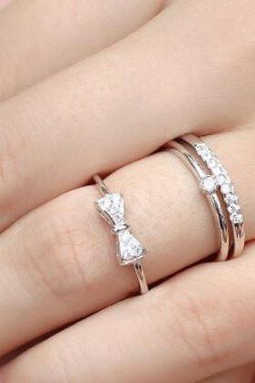 Women's Stackable Ring 925 Sterling Silver Ring Butterfly Knot Bow Rings Adorned With Diamonds