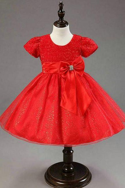Christmas Red Dress for girls Wedding Birthday Pageant Outfit for Toddler Girls