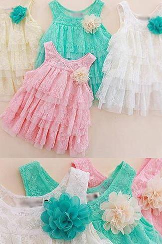 White Dress Infant Dress Lacy Floral White Dress for Girls 3 months,6 Months,9 months Girls, 12 Months White Dress