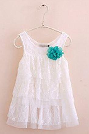 White Dress Infant for Girls Tops Floral Lace for Baby Girls 9-12 Months